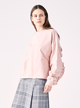 Back Frilled Cotton Jersey Pullover