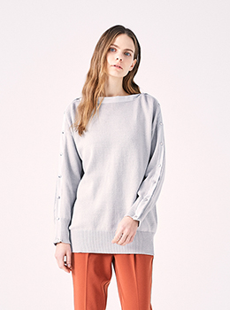 Side Button Open Knit Pullover