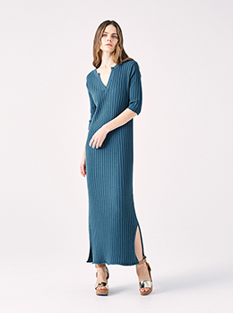 Wide Rib Skipper Knit Dress