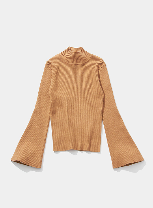Flare Sleeve High-Neck Rib Pullover