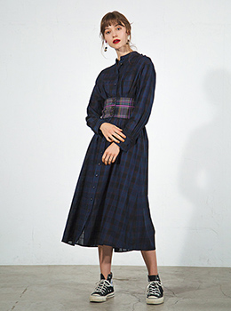 Corset Belt Check On Check Shirt Dress