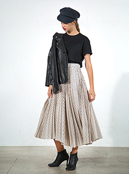 Shantung Dot Front Pleats Skirt