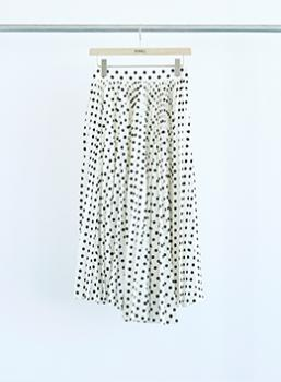 Shantung Dot Front Pleats Skirt (NEW COLOR)