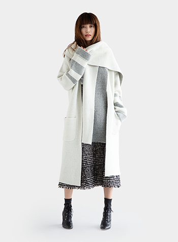 Boucle Bi-Color Knit Coat